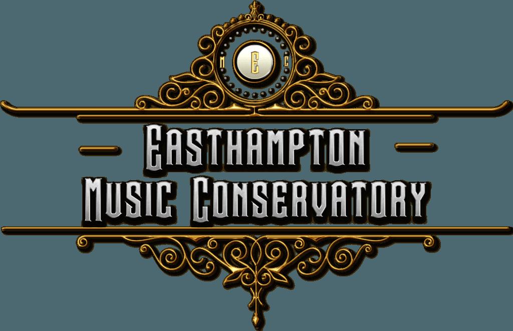 Easthampton Music Conservatory Main Logo brass filigree surrounding steel metallic lettering