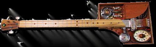 A steampunk clockwork bass guitar