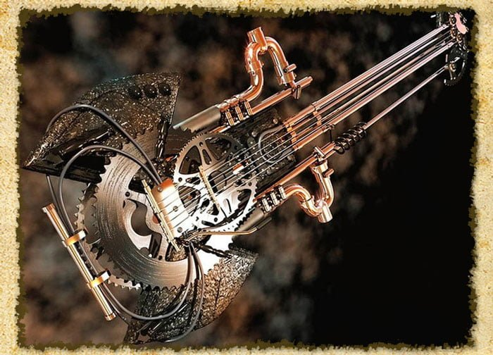 A steampunk guitar made from bicycle parts