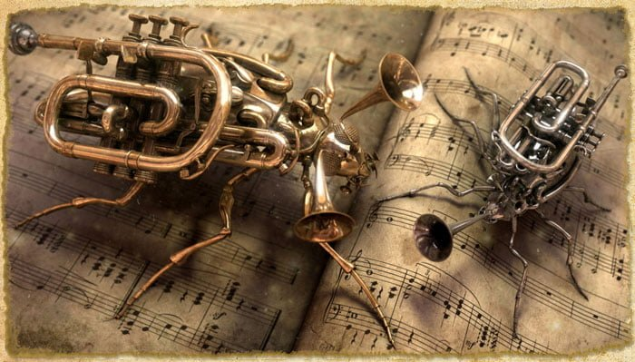 Insect sculptures made from brass instruments